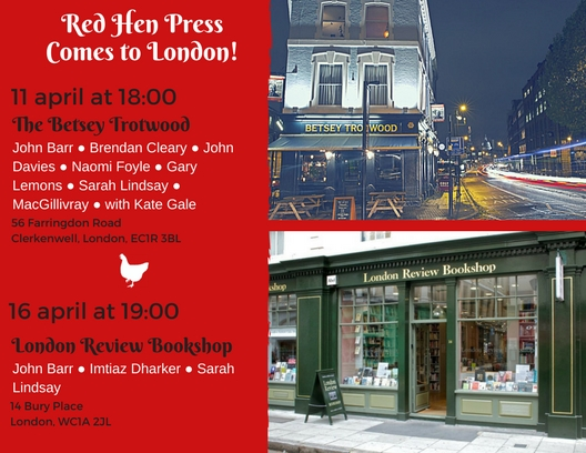 Invite to Red Hen Press reading in London