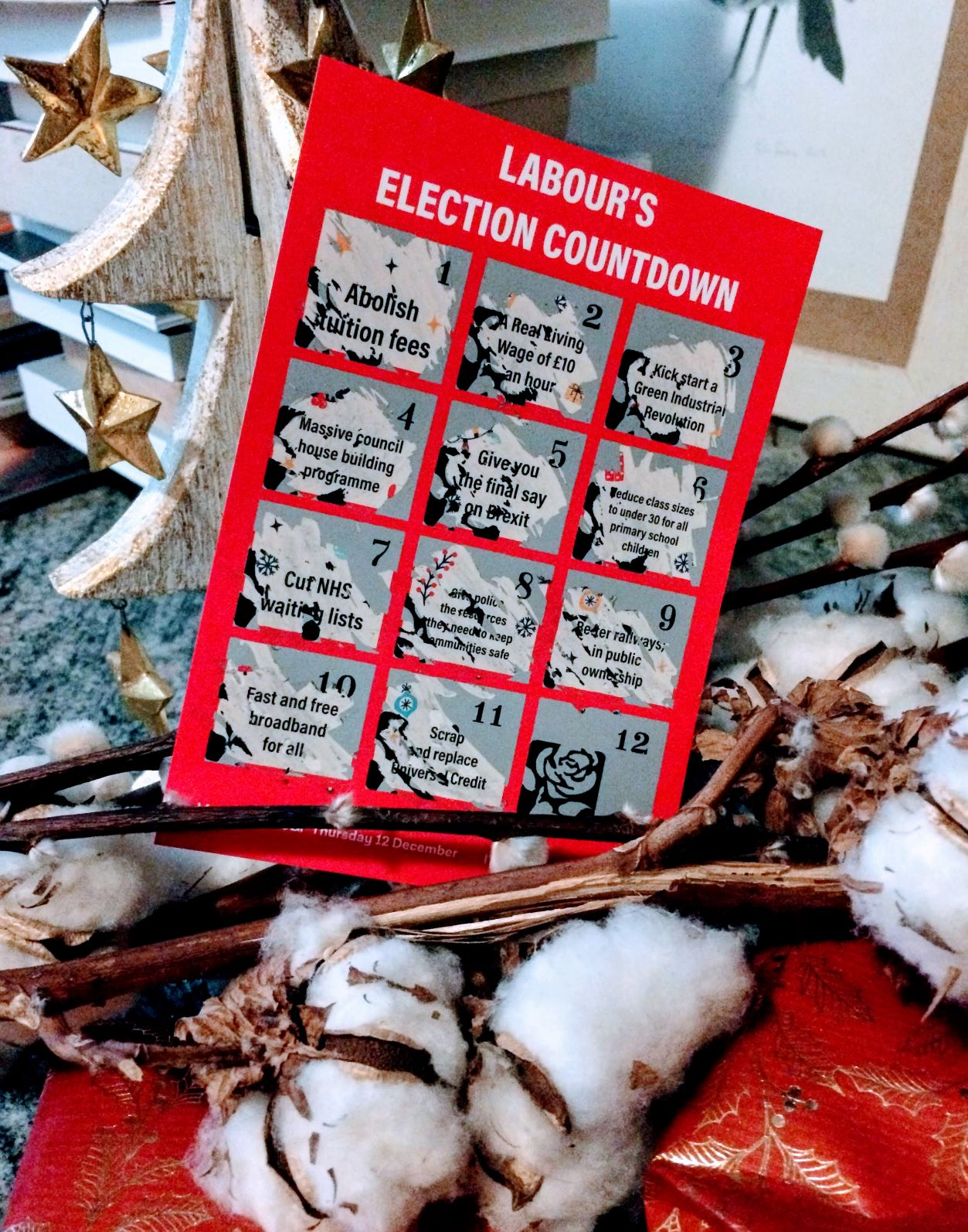 Image of a Labour Party scratchcard advent calendar, listing their election promises